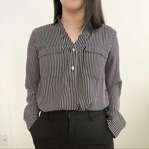 Ann Taylor   Black and White Stripes Blouse